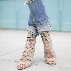 Joie Anja Suede Lace Up Open Toe Booties 37.5/7.5